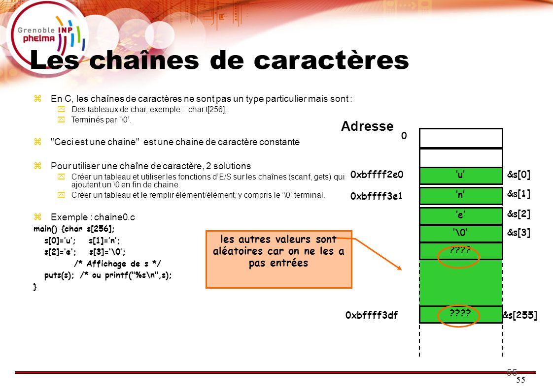 55 Les chaînes de caractères En C, les chaînes de caractères ne sont pas un type particulier mais sont : Des tableaux de char, exemple : char t[256];