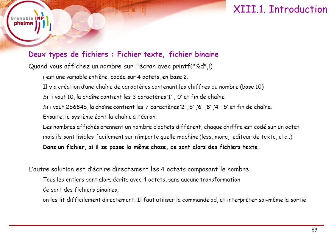 65 Deux types de fichiers : Fichier texte, fichier binaire Quand vous affichez un nombre sur l'écran avec printf(