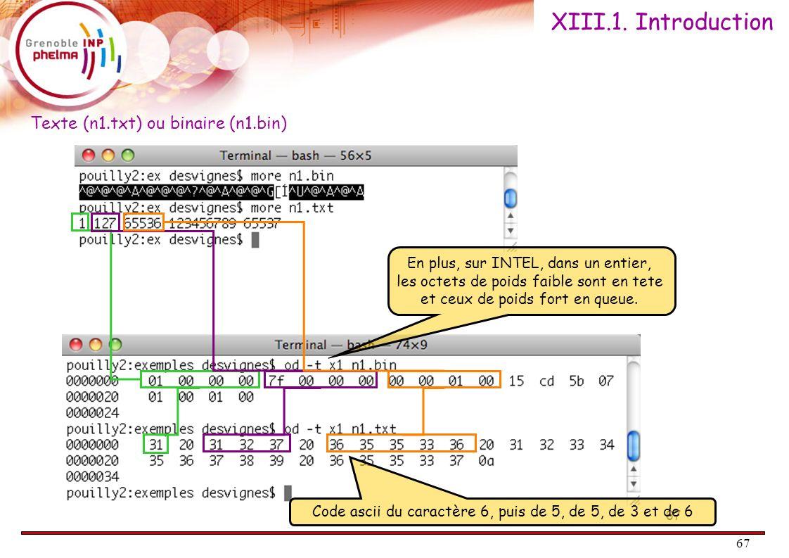 67 XIII.1. Introduction 67 En plus, sur INTEL, dans un entier, les octets de poids faible sont en tete et ceux de poids fort en queue. Code ascii du c