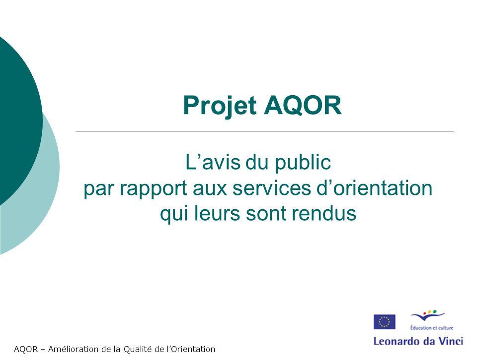 AQOR – Amélioration de la Qualité de lOrientation Lavis du public par rapport aux services dorientation qui leurs sont rendus Projet AQOR