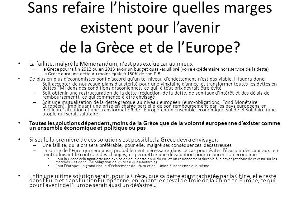 Sans refaire lhistoire quelles marges existent pour lavenir de la Grèce et de lEurope.