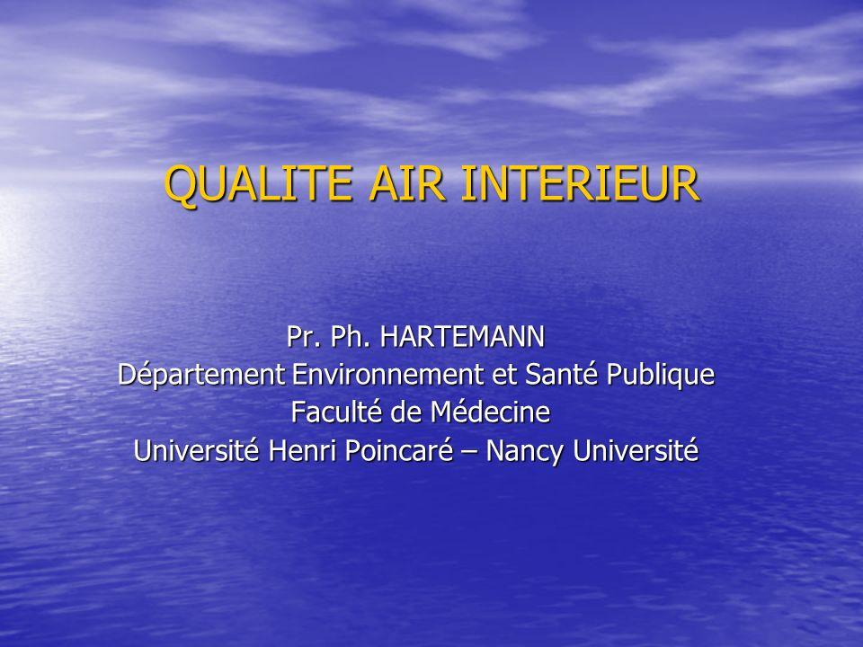 QUALITE AIR INTERIEUR Pr. Ph. HARTEMANN Département Environnement et Santé Publique Faculté de Médecine Faculté de Médecine Université Henri Poincaré