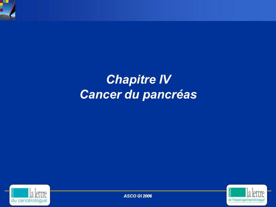 Chapitre IV Cancer du pancréas ASCO GI 2006