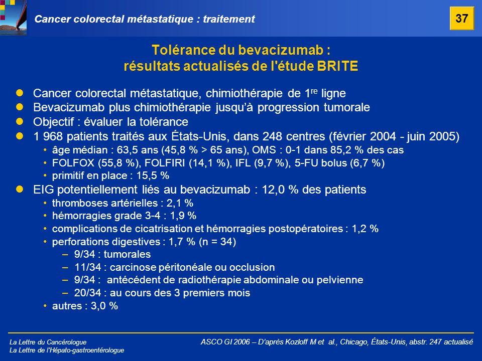 La Lettre du Cancérologue La Lettre de l'Hépato-gastroentérologue Tolérance du bevacizumab : résultats actualisés de l'étude BRITE ASCO GI 2006 – Dapr