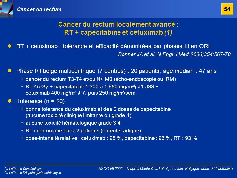La Lettre du Cancérologue La Lettre de l'Hépato-gastroentérologue Cancer du rectum localement avancé : RT + capécitabine et cetuximab (1) ASCO GI 2006