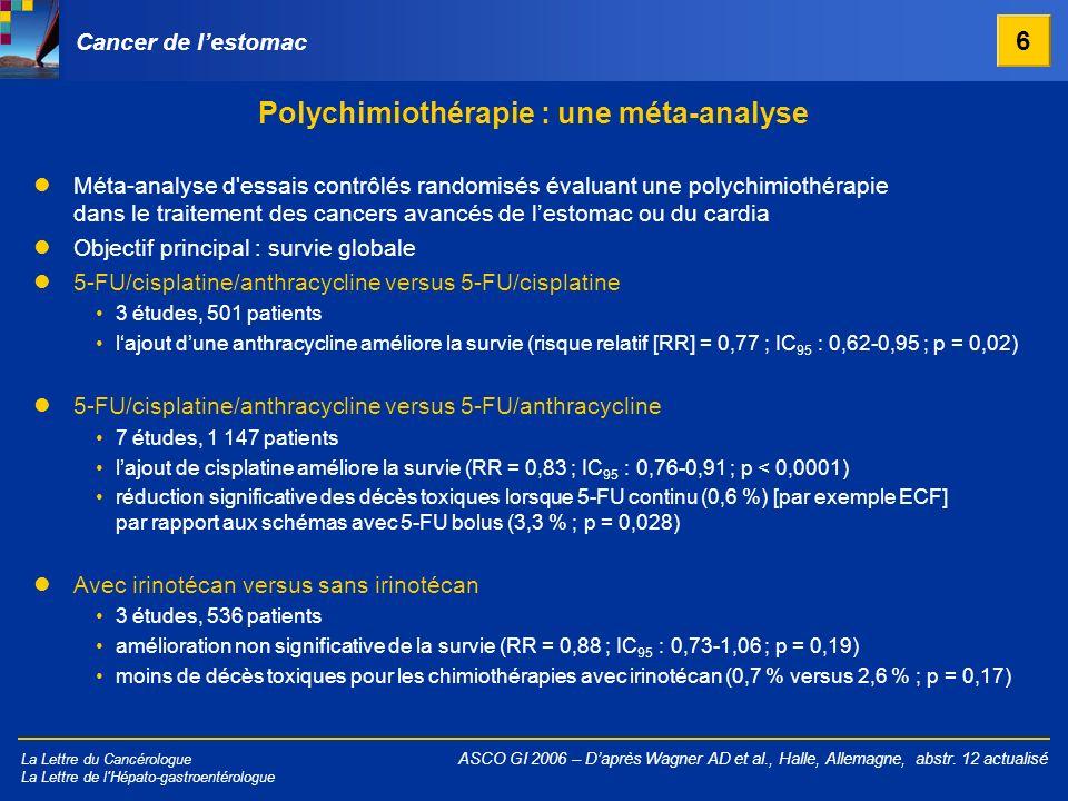 La Lettre du Cancérologue La Lettre de l'Hépato-gastroentérologue Polychimiothérapie : une méta-analyse ASCO GI 2006 – Daprès Wagner AD et al., Halle,