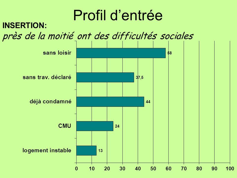INSERTION: près de la moitié ont des difficultés sociales Profil dentrée
