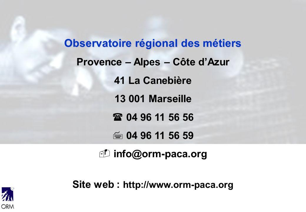 Observatoire régional des métiers Provence – Alpes – Côte dAzur 41 La Canebière 13 001 Marseille 04 96 11 56 56 04 96 11 56 59 info@orm-paca.org Site web : http://www.orm-paca.org
