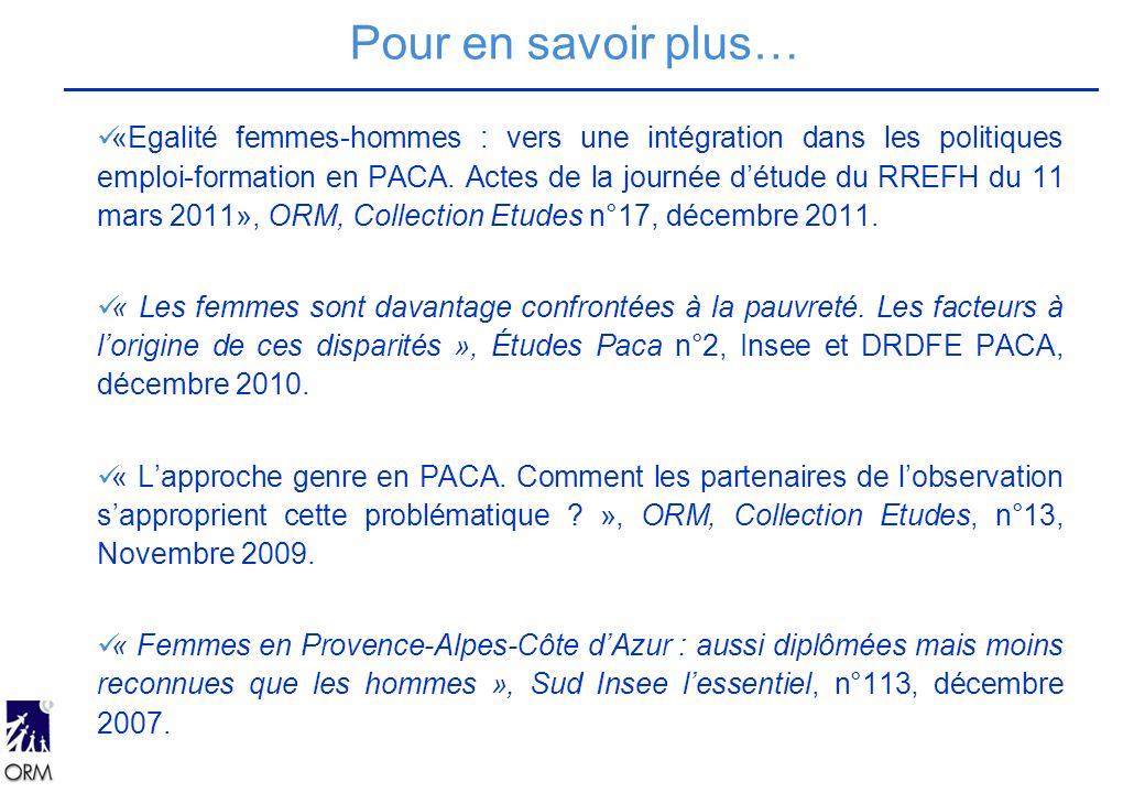 «Egalité femmes-hommes : vers une intégration dans les politiques emploi-formation en PACA.