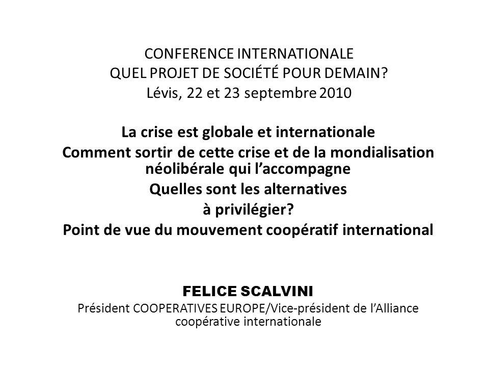 CONFERENCE INTERNATIONALE QUEL PROJET DE SOCIÉTÉ POUR DEMAIN.