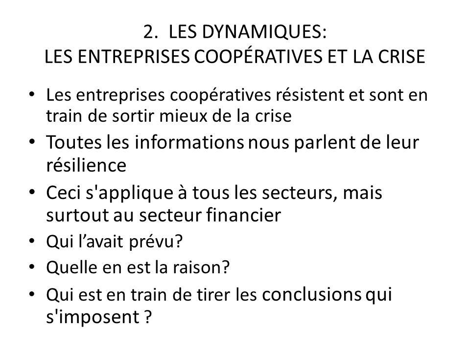 2. LES DYNAMIQUES: LES ENTREPRISES COOPÉRATIVES ET LA CRISE Les entreprises coopératives résistent et sont en train de sortir mieux de la crise Toutes
