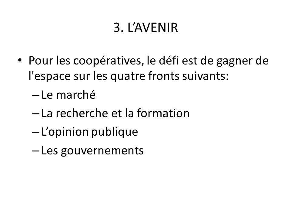 3. LAVENIR Pour les coopératives, le défi est de gagner de l'espace sur les quatre fronts suivants: – Le marché – La recherche et la formation – Lopin