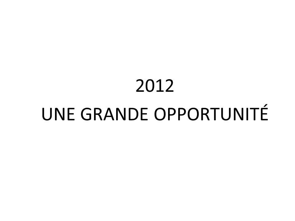 2012 UNE GRANDE OPPORTUNITÉ