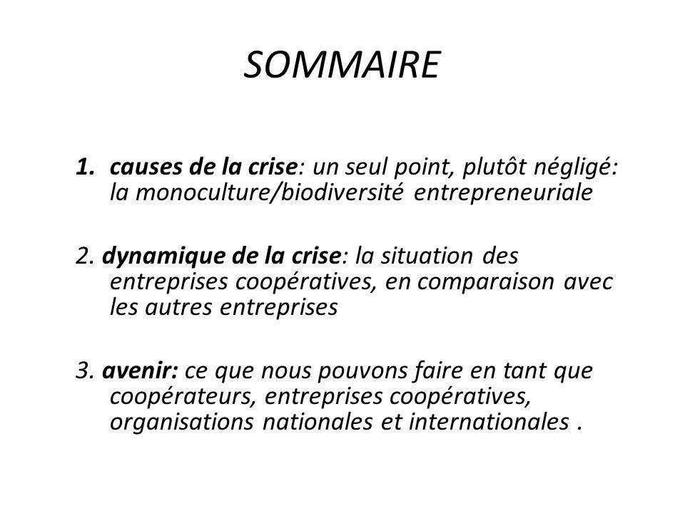 SOMMAIRE 1.causes de la crise: un seul point, plutôt négligé: la monoculture/biodiversité entrepreneuriale 2.