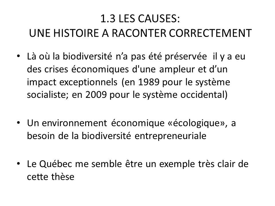 1.3 LES CAUSES: UNE HISTOIRE A RACONTER CORRECTEMENT Là où la biodiversité na pas été préservée il y a eu des crises économiques d une ampleur et dun impact exceptionnels (en 1989 pour le système socialiste; en 2009 pour le système occidental) Un environnement économique «écologique», a besoin de la biodiversité entrepreneuriale Le Québec me semble être un exemple très clair de cette thèse