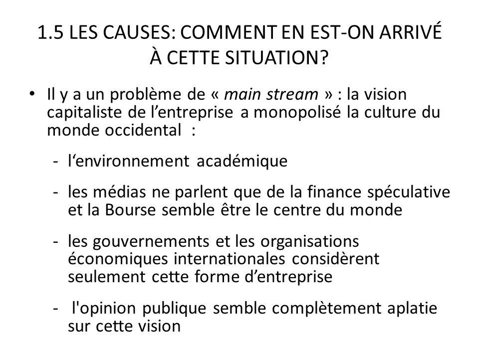 1.5 LES CAUSES: COMMENT EN EST-ON ARRIVÉ À CETTE SITUATION.