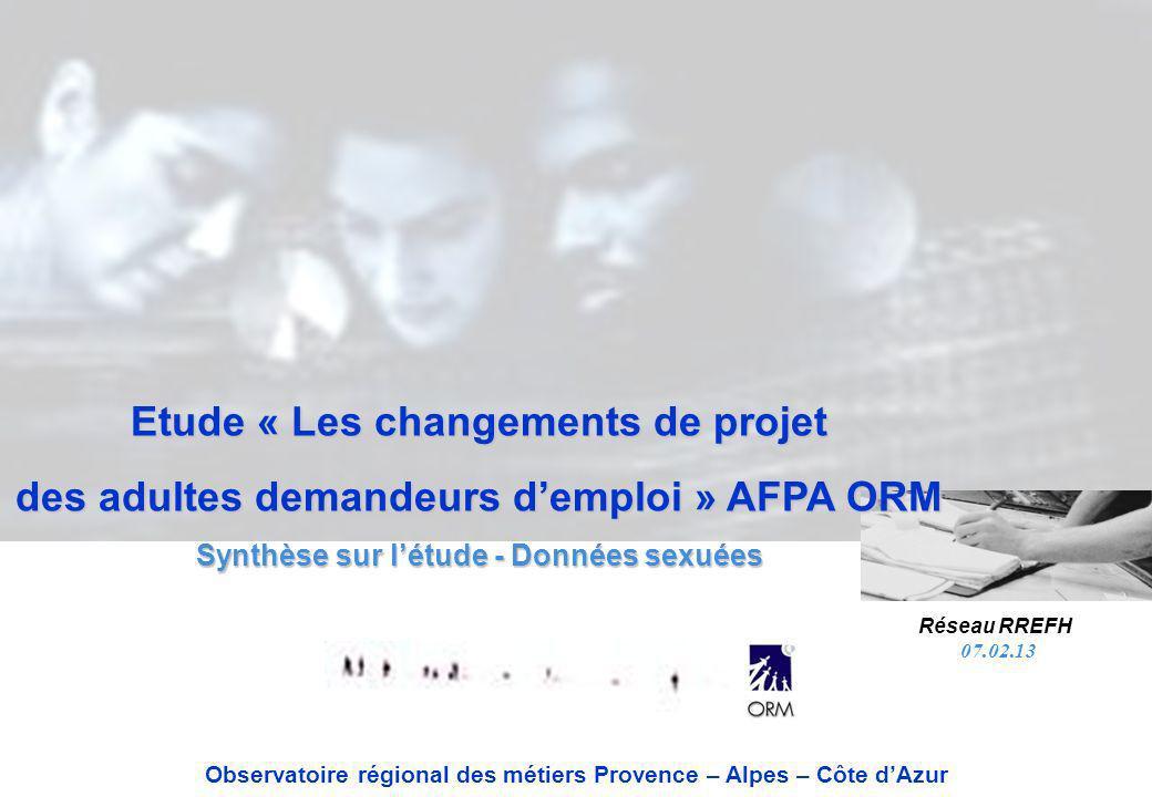 Etude « Les changements de projet des adultes demandeurs demploi » AFPA ORM Synthèse sur létude - Données sexuées Observatoire régional des métiers Pr