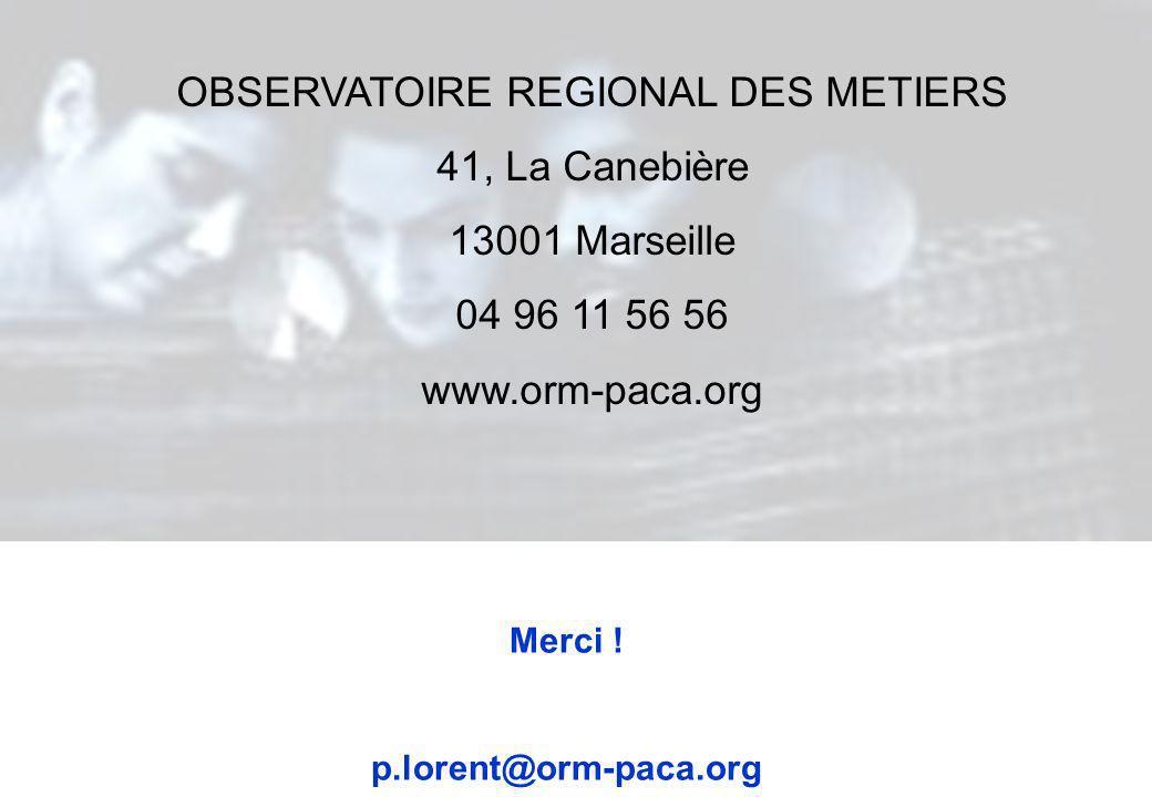 Merci ! p.lorent@orm-paca.org OBSERVATOIRE REGIONAL DES METIERS 41, La Canebière 13001 Marseille 04 96 11 56 56 www.orm-paca.org