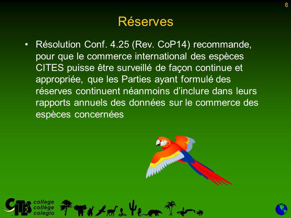 6 Réserves Résolution Conf. 4.25 (Rev.