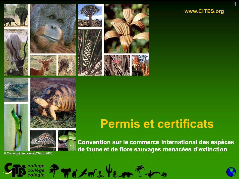 1 Permis et certificats www.CITES.org © Copyright Secrétariat CITES 2005 Convention sur le commerce international des espèces de faune et de flore sauvages menacées dextinction