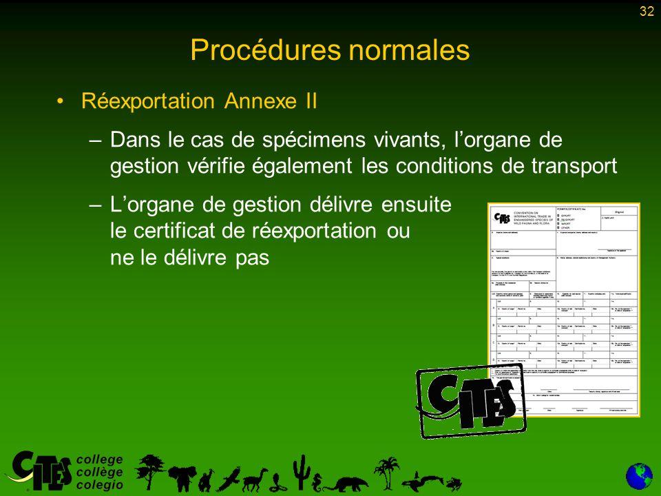 32 Procédures normales Réexportation Annexe II –Dans le cas de spécimens vivants, lorgane de gestion vérifie également les conditions de transport –Lorgane de gestion délivre ensuite le certificat de réexportation ou ne le délivre pas
