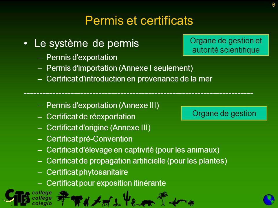 6 Permis et certificats Le système de permis –Permis d exportation –Permis d importation (Annexe I seulement) –Certificat d introduction en provenance de la mer -------------------------------------------------------------------------- –Permis d exportation (Annexe III) –Certificat de réexportation –Certificat d origine (Annexe III) –Certificat pré-Convention –Certificat d élevage en captivité (pour les animaux) –Certificat de propagation artificielle (pour les plantes) –Certificat phytosanitaire –Certificat pour exposition itinérante Organe de gestion et autorité scientifique Organe de gestion