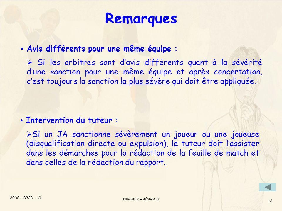 2008 – 8323 – V1 Niveau 2 – séance 3 18 Remarques Intervention du tuteur : Si un JA sanctionne sévèrement un joueur ou une joueuse (disqualification directe ou expulsion), le tuteur doit lassister dans les démarches pour la rédaction de la feuille de match et dans celles de la rédaction du rapport.