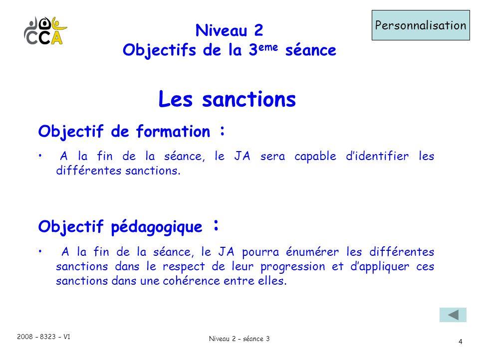 2008 – 8323 – V1 Niveau 2 – séance 3 4 Niveau 2 Objectifs de la 3 eme séance Personnalisation Objectif de formation : A la fin de la séance, le JA sera capable didentifier les différentes sanctions.