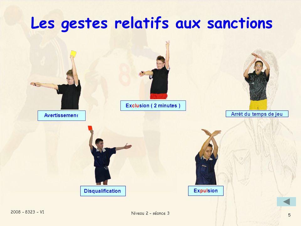 2008 – 8323 – V1 Niveau 2 – séance 3 5 Les gestes relatifs aux sanctions Exclusion ( 2 minutes ) Arrêt du temps de jeu Expulsion Avertissemen t Disqualification