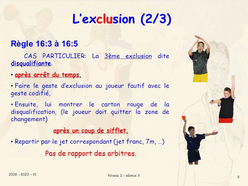 2008 – 8323 – V1 Niveau 2 – séance 3 9 clu Lexclusion (2/3) Règle 16:3 à 16:5 CAS PARTICULIER: La 3ème exclusion dite disqualifiante.