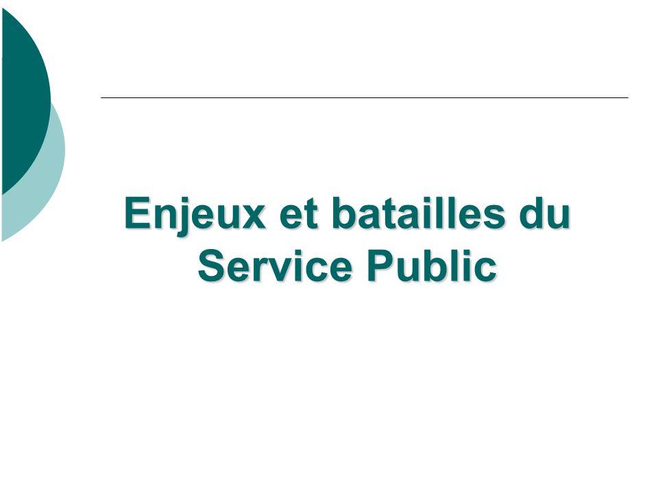 Enjeux et batailles du Service Public Enjeux et batailles du Service Public