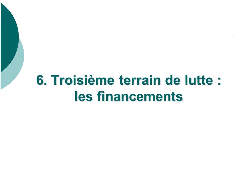 6. Troisième terrain de lutte : les financements 6. Troisième terrain de lutte : les financements