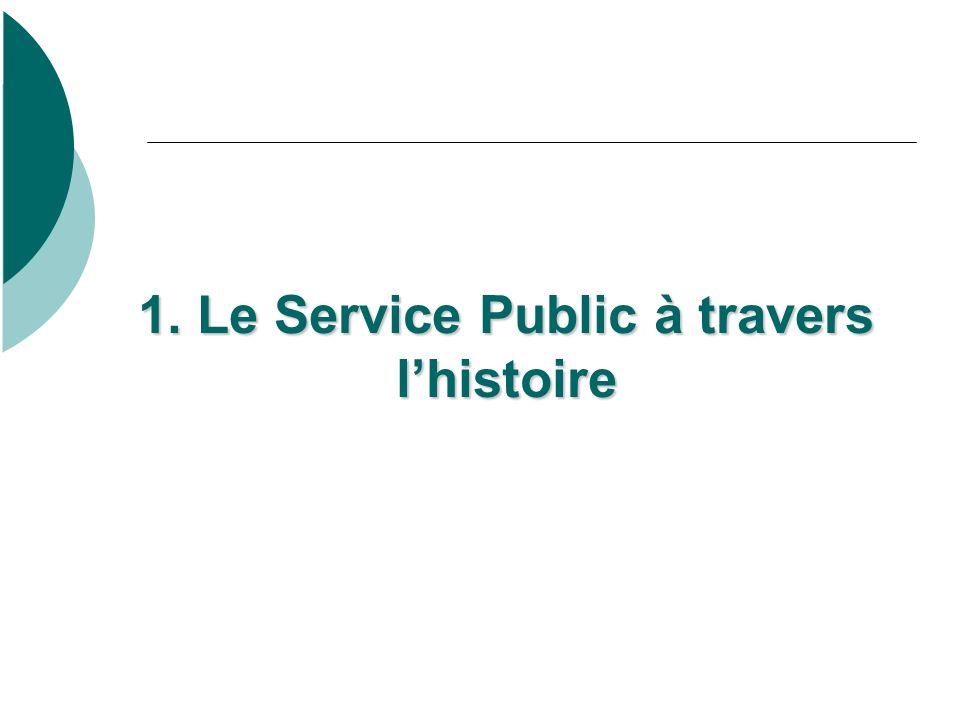 1. Le Service Public à travers lhistoire 1. Le Service Public à travers lhistoire