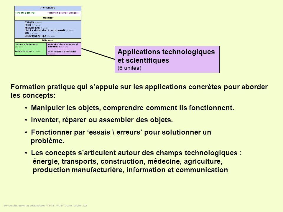 Applications technologiques et scientifiques (6 unités) Formation pratique qui sappuie sur les applications concrètes pour aborder les concepts: Manip