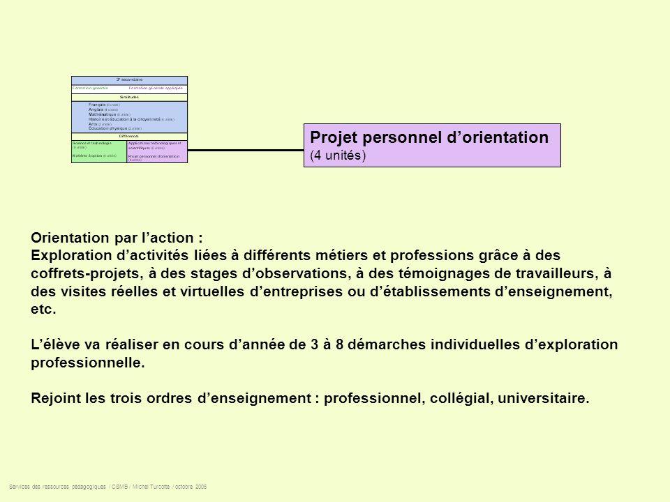 Projet personnel dorientation (4 unités) Orientation par laction : Exploration dactivités liées à différents métiers et professions grâce à des coffre