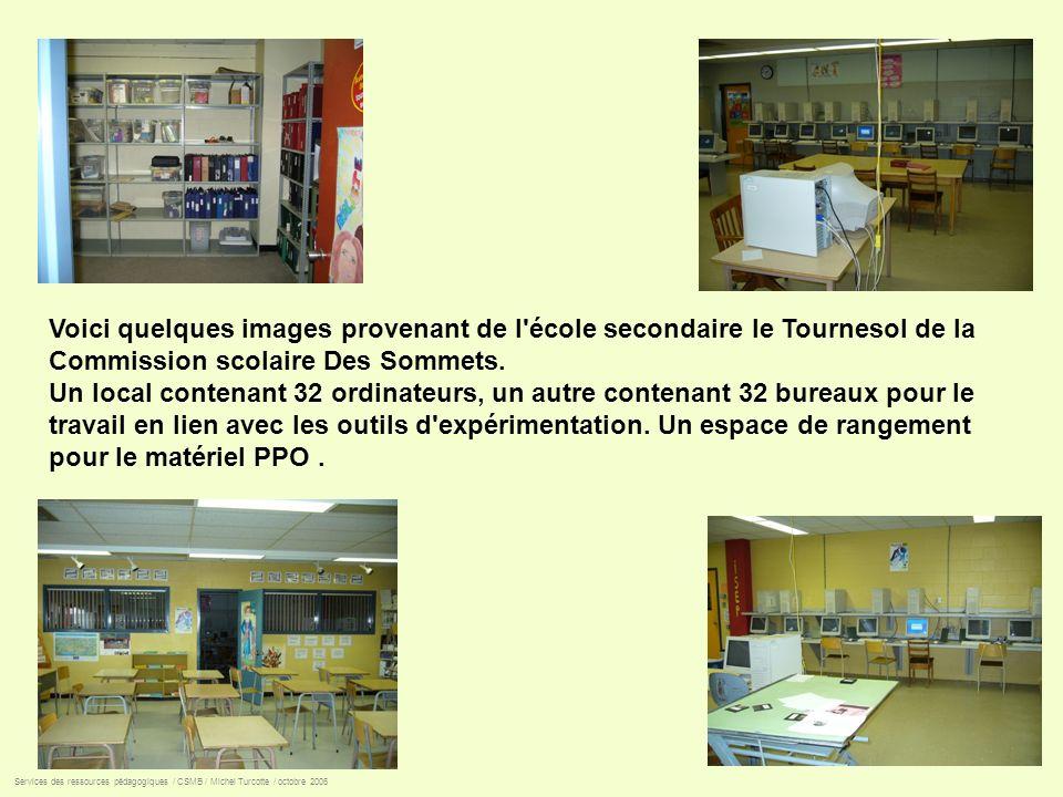 Voici quelques images provenant de l'école secondaire le Tournesol de la Commission scolaire Des Sommets. Un local contenant 32 ordinateurs, un autre