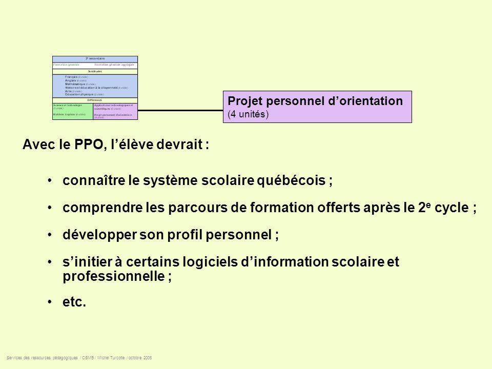 Avec le PPO, lélève devrait : connaître le système scolaire québécois ; comprendre les parcours de formation offerts après le 2 e cycle ; développer s