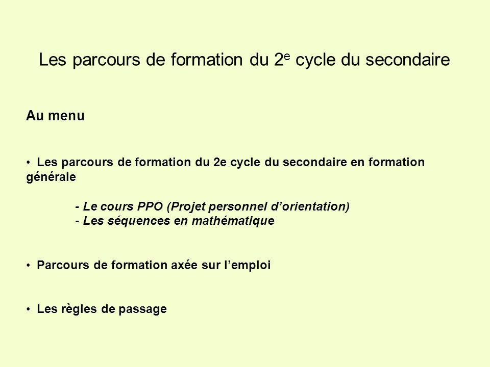 non admis Prolongement du 1 e cycle 1 e cycle du secondaire Services des ressources pédagogiques / CSMB / Michel Turcotte / octobre 2006