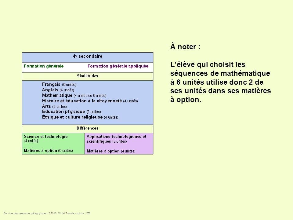 Services des ressources pédagogiques / CSMB / Michel Turcotte / octobre 2006 À noter : Lélève qui choisit les séquences de mathématique à 6 unités uti