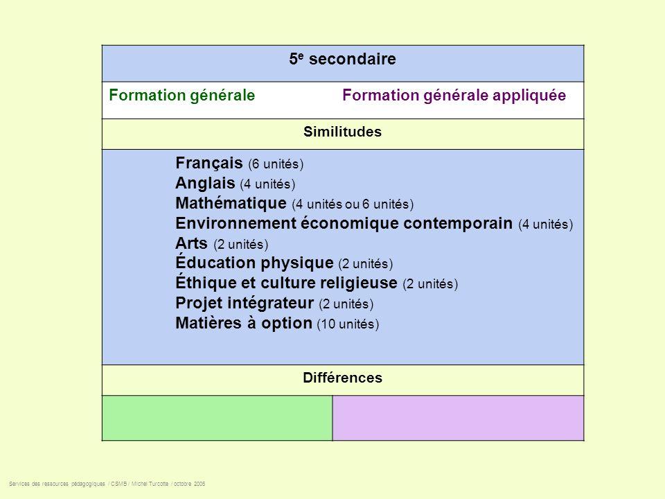 5 e secondaire Formation générale Formation générale appliquée Similitudes Français (6 unités) Anglais (4 unités) Mathématique (4 unités ou 6 unités)