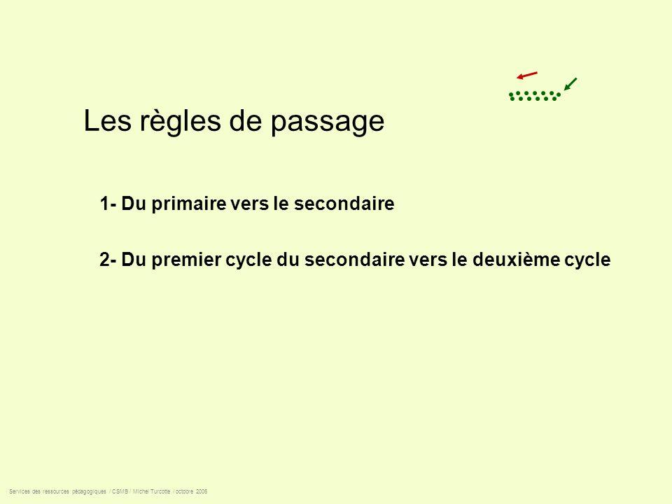 Les règles de passage 1- Du primaire vers le secondaire 2- Du premier cycle du secondaire vers le deuxième cycle Services des ressources pédagogiques