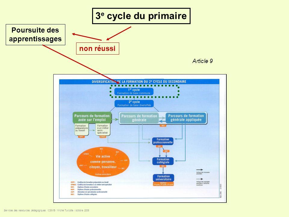 3 e cycle du primaire non réussi Poursuite des apprentissages Services des ressources pédagogiques / CSMB / Michel Turcotte / octobre 2006 Article 9
