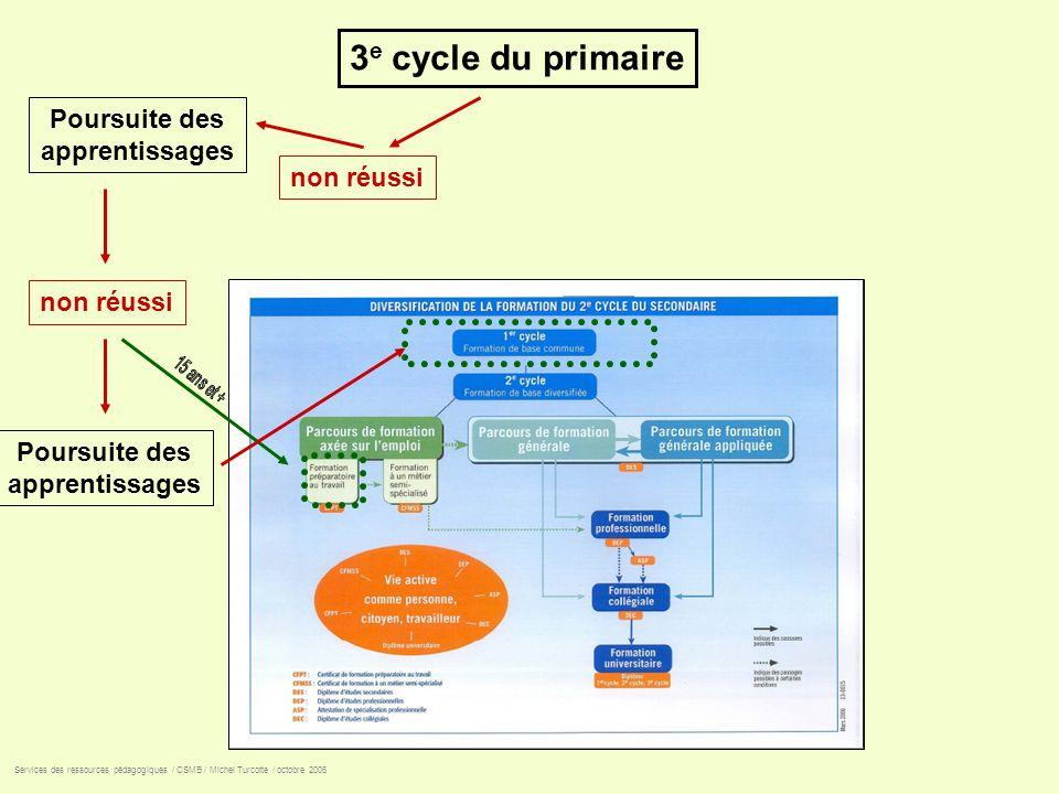 3 e cycle du primaire non réussi Services des ressources pédagogiques / CSMB / Michel Turcotte / octobre 2006 Poursuite des apprentissages Poursuite d