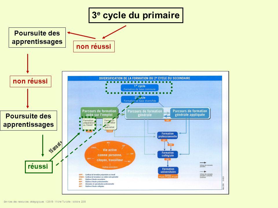 3 e cycle du primaire non réussi réussi Services des ressources pédagogiques / CSMB / Michel Turcotte / octobre 2006 Poursuite des apprentissages Pour