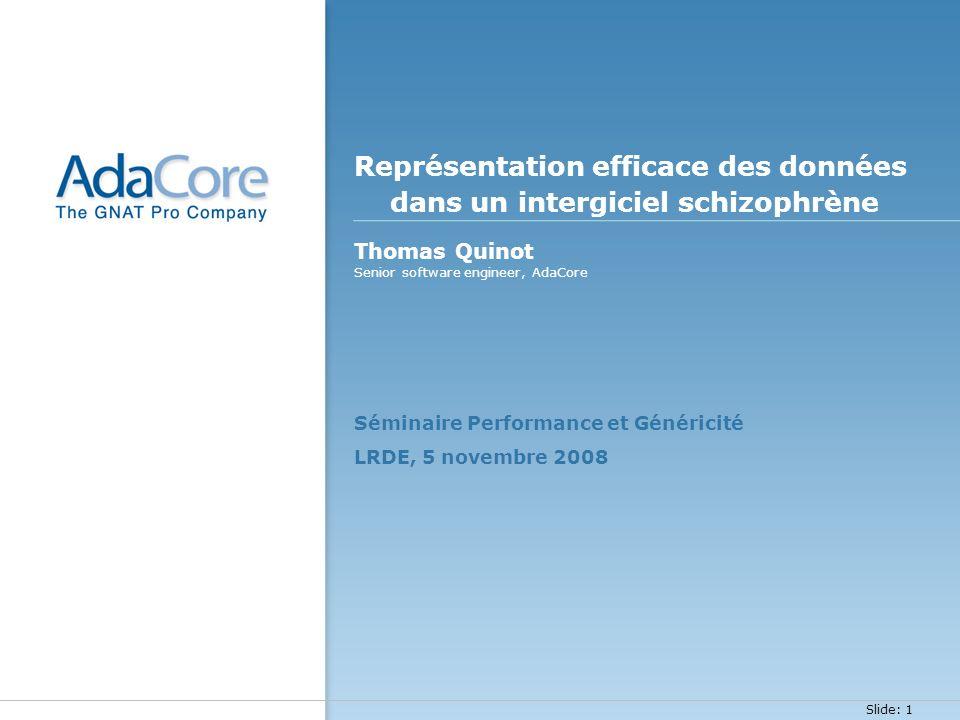 Slide: 1 Représentation efficace des données dans un intergiciel schizophrène Thomas Quinot Séminaire Performance et Généricité LRDE, 5 novembre 2008
