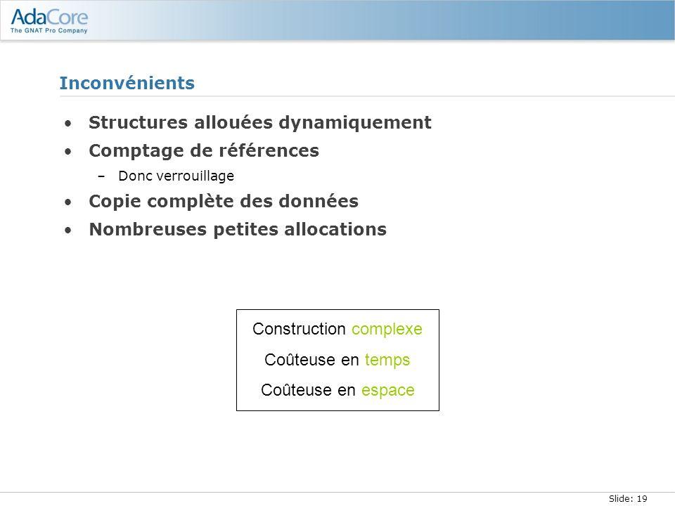 Slide: 19 Inconvénients Structures allouées dynamiquement Comptage de références –Donc verrouillage Copie complète des données Nombreuses petites allo