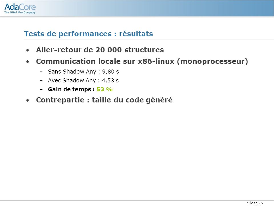 Slide: 26 Tests de performances : résultats Aller-retour de 20 000 structures Communication locale sur x86-linux (monoprocesseur) –Sans Shadow Any : 9