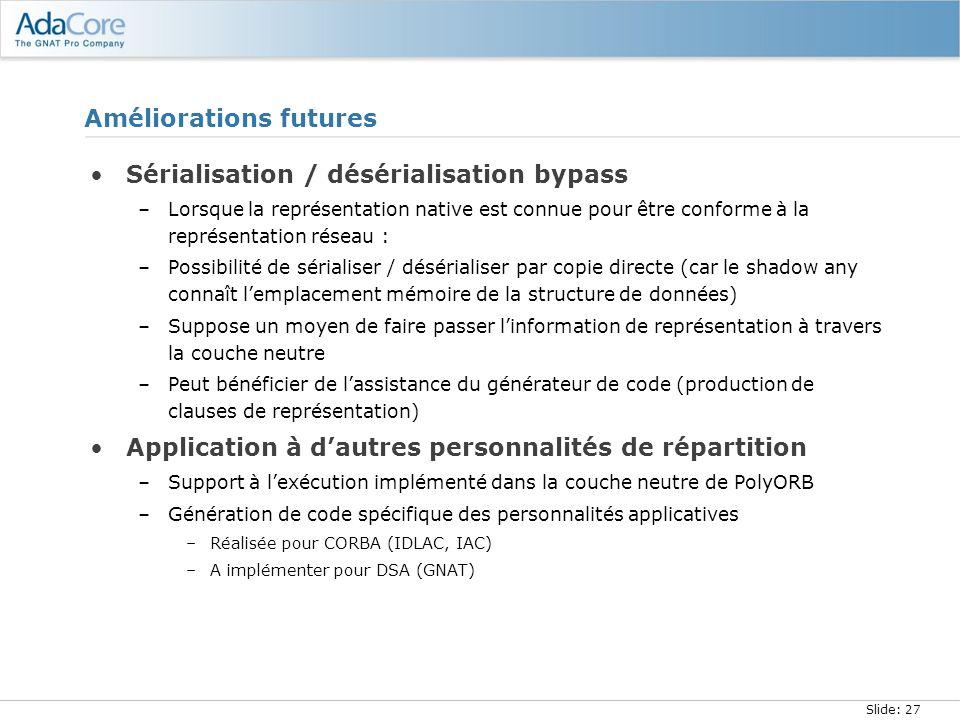 Slide: 27 Améliorations futures Sérialisation / désérialisation bypass –Lorsque la représentation native est connue pour être conforme à la représenta