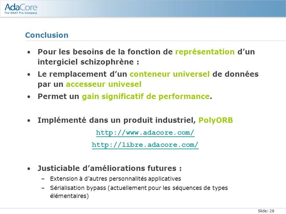 Slide: 28 Conclusion Pour les besoins de la fonction de représentation dun intergiciel schizophrène : Le remplacement dun conteneur universel de donné
