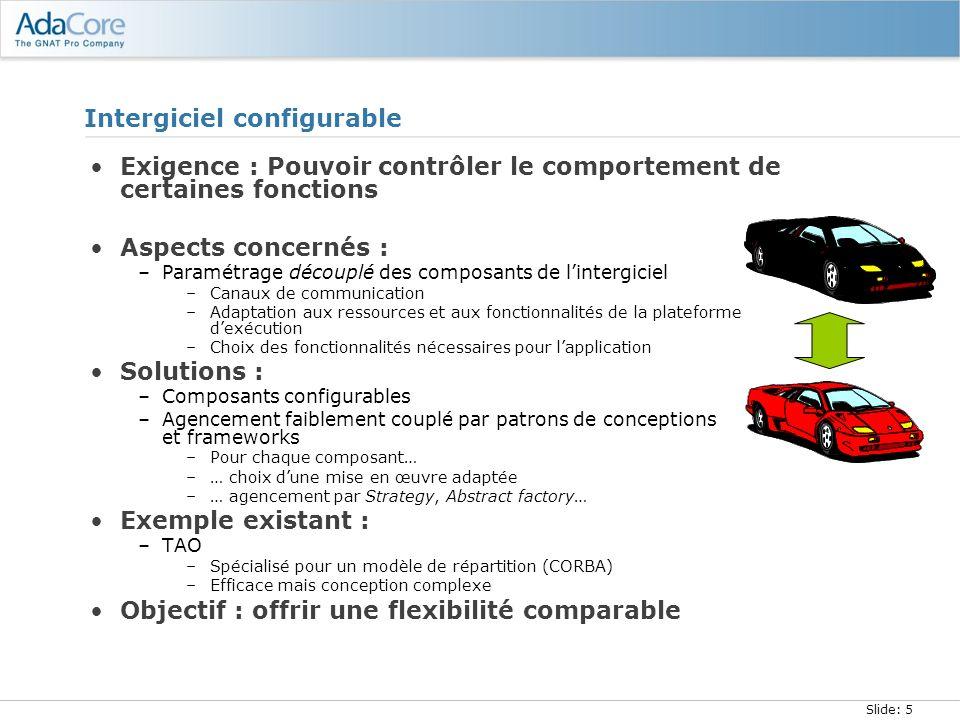 Slide: 6 Intergiciel générique Exigence : Pouvoir décliner une boîte à outils selon les paradigmes de multiples modèles de répartition Aspects concernés : –Paramétrage de lassemblage de composants –Choix des concrétisations de composants –Définition des fonctionnalités partagées Solutions : –Intergiciels génériques = factorisation de code –Personnalités = instances dintergiciel générique Exemples existants : –Jonathan/Quarterware –Frameworks pour la construction dintergiciels –Factorisation limitée (10-25%) Objectif : augmenter la factorisation de code